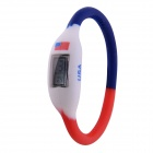 "0.67"" LCD 2014 World Cup American Flag Design Sports Silicone Bracelet Digital Wrist Watch"