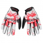 BOODUN 22300069 Lycra + Suede Patterned Full-Finger Cycling Gloves - White (L / Pair)