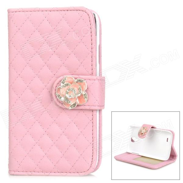 Retro Style Flip Open PU + Plastic Case w/ Stand / Card Slots for Samsung Galaxy S4 i9500 - Pink protective flip open pu case w stand card slots for galaxy trend duos s7562 deep pink