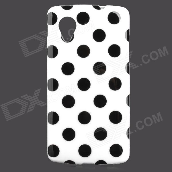 Stylish Polka Dot Pattern Protective TPU Back Case for Google Nexus 5 - White + Black handpainted cactus and polka dot printed pillow case