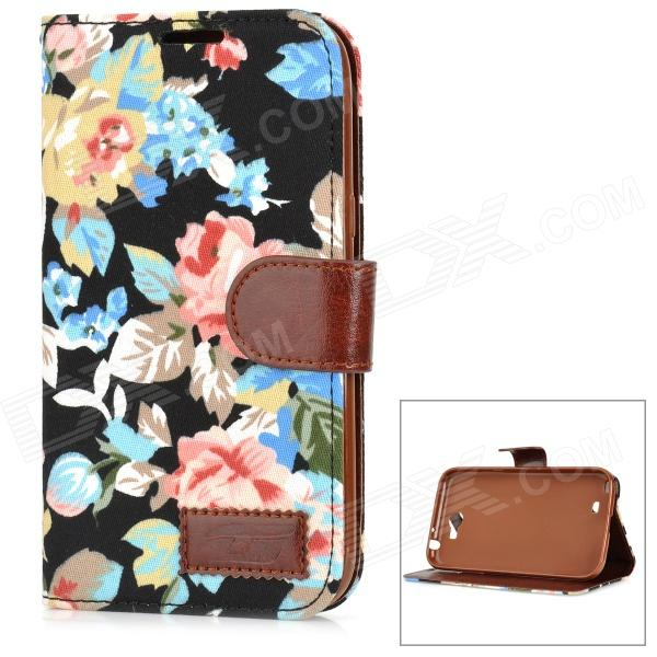 Flower Pattern Stylish Flip Open PU Leather Case w/ Stand / Card Slots for Samsung N7100 stylish pattern protective flip open pu leather case w stand card slots for iphone 6 4 7 white