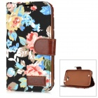 Flower Pattern Stylish Flip Open PU Leather Case w/ Stand / Card Slots for Samsung N7100