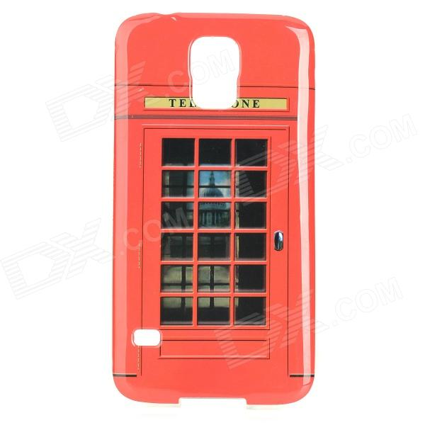 Retro Phone Booth Pattern TPU Back Case for Samsung Galaxy S5 - Red + Black