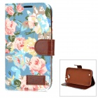 Stylish Flip Open PU Leather Case w/ Stand / Card Slots for Samsung N7100 - Blue + Brown