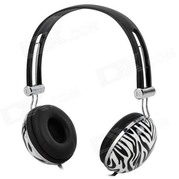 HP-800 Fashion Zebra Pattern 3.5mm Headband Earphone w/ Microphone - Black + White + Multi-Colored fashion letters and zebra pattern removeable wall stickers for bedroom decor
