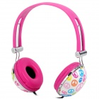 HP-800 Fashion 3.5mm Headband Earphone w/ Microphone - Dark Pink + Purple + Multi-Colored