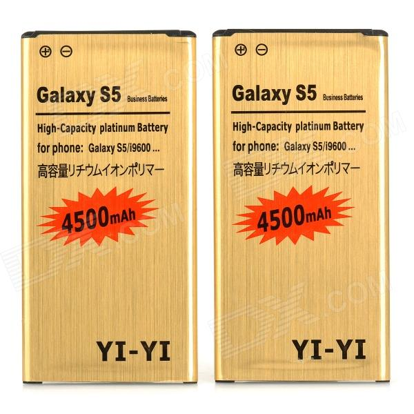 YI-YI High Capacity 3.8V 3500mAh Li-ion Battery for Samsung Galaxy S5 - Golden (2 PCS) xeoleo mini coffee maker automatic single cup coffee machine drip american coffee with ceramic cup as gift automatic insulation