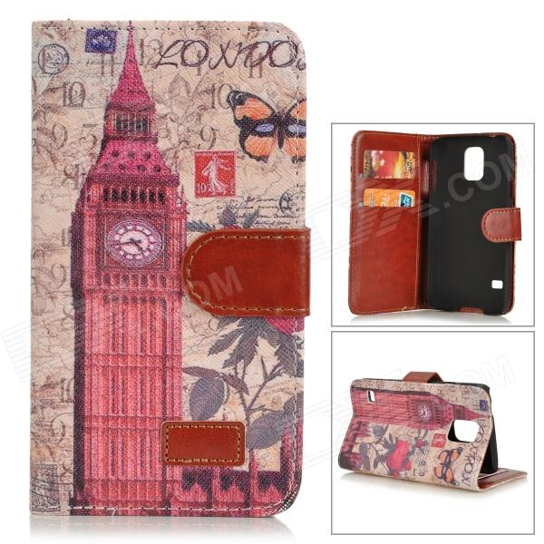 все цены на Big Ben Pattern Protective PU Leather + Plastic Case w/ Stand for Samsung Galaxy S5 - Red + Brwon онлайн