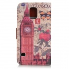 Big Ben Pattern Protective PU Leather + Plastic Case w/ Stand for Samsung Galaxy S5 - Red + Brwon