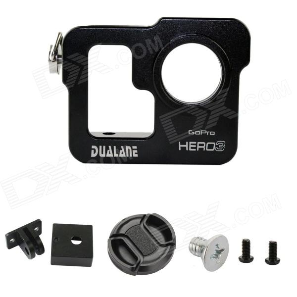 DUALANE Aluminum Alloy Protective Case Shell Housing Cover for GoPro Hero 3 - Black gopro hero 3 3 4 lcd screen bacpac display viewer backdoor case cover gopro expand protective frame for gopro3 3 4 accessories