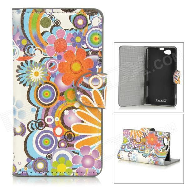YIYI Sunflower Pattern Protective PU Leather Case w/ Stand for Sony Xperia Z1 Mini / Compact D5503