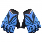 QEPAE F038 Outdoor Sports Bicycle Anti-Slip Breathable Half-Finger Gloves - Black + Blue (L / Pair)