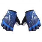 MONTON 113163081 Cool-dry Patterned Half-Finger Lycra Cycling Gloves - Blue + Black (L / Pair)