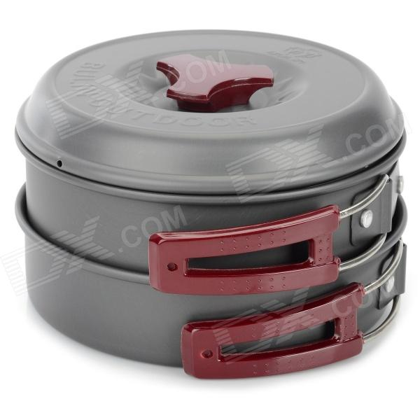 Bulin BL200-C3 Handy Portable Outdoor Cooker Pot Set for Camping - Grey + Wine Red + Silver