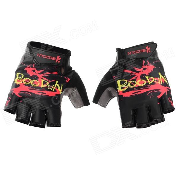 цены BOODUN 201200518 Patterned Half-Finger Lycra Cycling Gloves - Black (L / Pair)