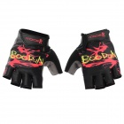 BOODUN 201200518 Patterned Half-Finger Lycra Cycling Gloves - Black (L / Pair)