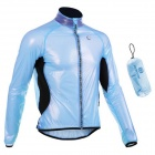 MONTON 1019 Windproof Water Resistant Cycling Polyester Jacket - Sky Blue + Black (XL)