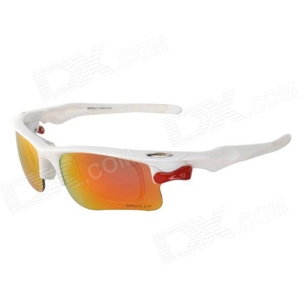 OPOLLY OP105 Cycling PC Polarized Sunglasses w/ Replacement Lens - Red REVO + White + Red