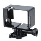 TOZ Portable Plastic Fixed Frame Case w/ Screws + Push Buckle for GoPro Hero 3+ / 3 / 2 / 1 - Black
