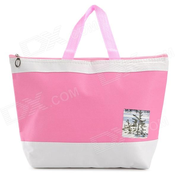 Creeper Oxford + Aluminum Film Lunch Picnic Insulation Bag - Pink + White