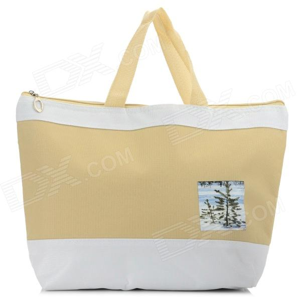 Creeper Oxford + Aluminum Film Lunch Picnic Insulation Bag - Khaki + White