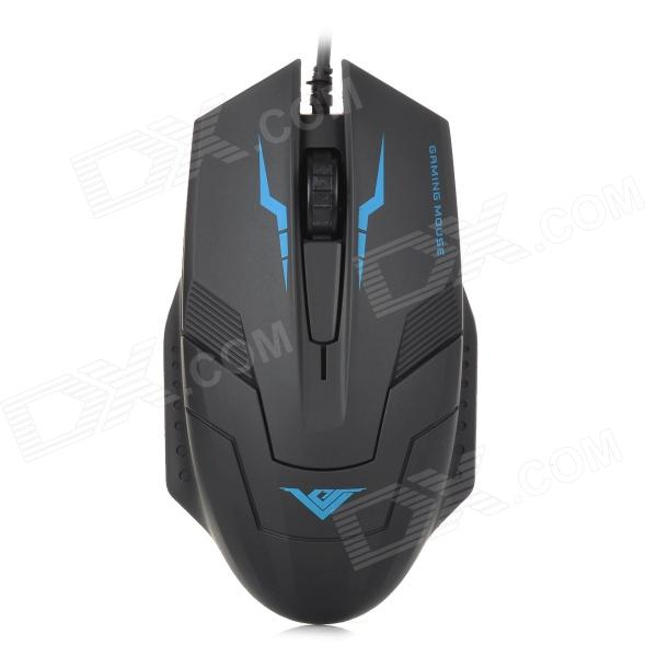 RAJFOO I5 USB 2.0 Wired 1000 / 1600dpi Gaming Optical Mouse - Black + Blue