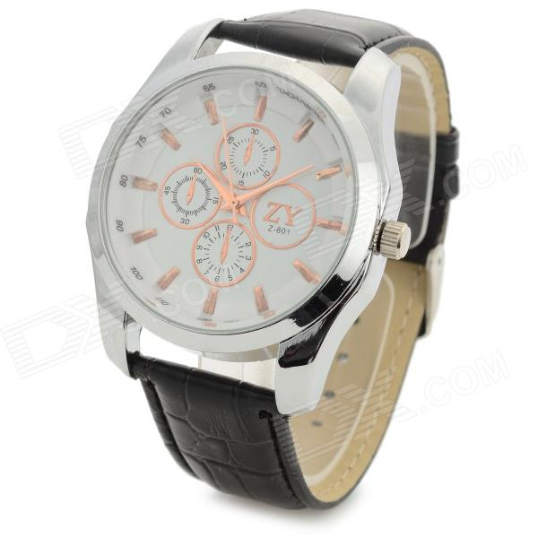 Zhongyi 801 Fashion PU Band Quartz Analog Wrist Watch for Men - White + Black (1 x 626)