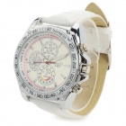 Zhongyi 852 Fashion PU Band Quartz Analog Wrist Watch for Men - Silver + White (1 x 626)