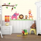 Jungle Party of Cute Animal Babies Kindergarten Children's Room Wall Sticker - Multicolored