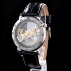 MCE 01-0060217 Stainless Steel Self-winding Mechanical Analog Wrist Watch - Black + Silver