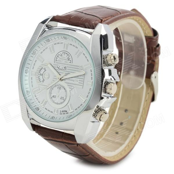 Zhongyi 809 Fashion PU Band Quartz Analog Wrist Watch for Men - Brown + White (1 x 626)