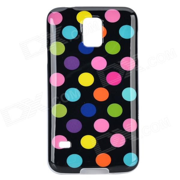 Protective Polka Dot Silicone Back Case Cover for Samsung Galaxy S5 - Black + Multi-Colored