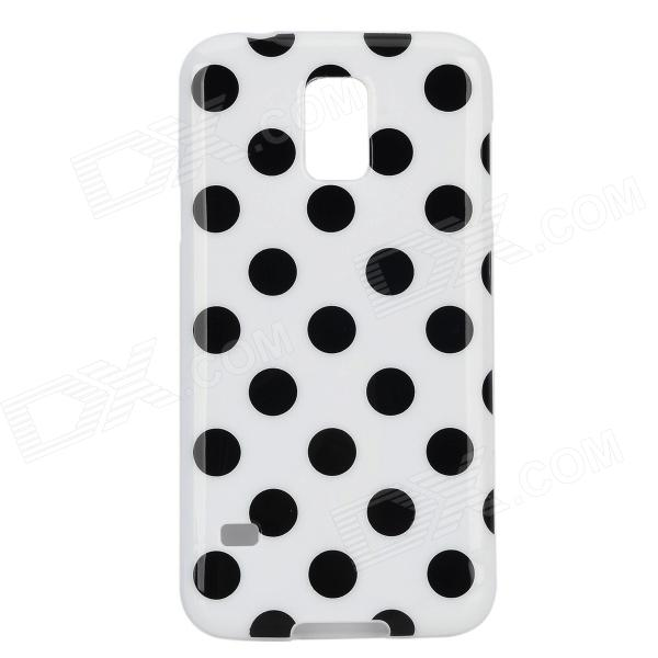 Protective Stylish Polka Dot Silicone Back Case Cover for Samsung Galaxy S5 - White + Black protective silicone case for nds lite translucent white