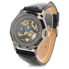 CJIABA 8001 Skeleton PU Band Self-Winding Mechanical Wrist Watch - Black + Golden