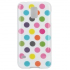Protective Polka Dot Silicone Back Case for Samsung Galaxy S5 - White + Dark Pink + Multi-Colored