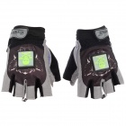 JXL Z01 Outdoor Sports Bicycle Anti-Slip Breathable Half-Finger Gloves w/ LED Indicator - Black (M)