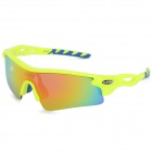 KALLO 99154 Outdoor Sports Polarized Sunglasses Goggles Set for Cycling - Fluorescent Yellow + Blue