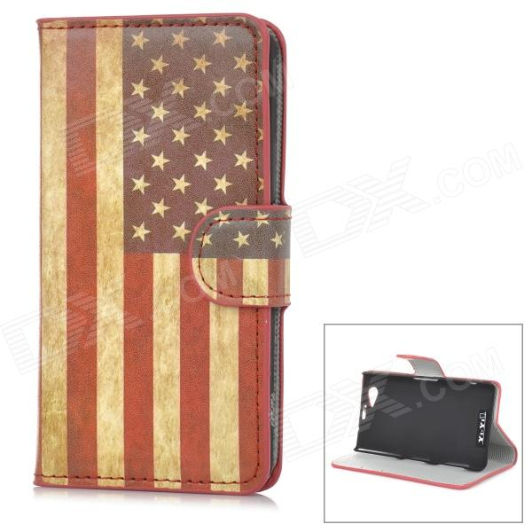 YIYI Retro US Flag Pattern Flip-open PU Case w/ Holder + Card Slot for Sony Xperia Z1 Mini / D5503Leather Cases<br>Form ColorRed + MulticoloredBrandYIYIModelN/AMaterialPUQuantity1 DX.PCM.Model.AttributeModel.UnitShade Of ColorRedCompatible ModelsSony Xperia Z1 Mini / D5503 / Xperia Z1 CompactPacking List1 x Case<br>