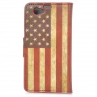 YIYI Retro US Flag Pattern Flip-open PU Case w/ Holder + Card Slot for Sony Xperia Z1 Mini / D5503