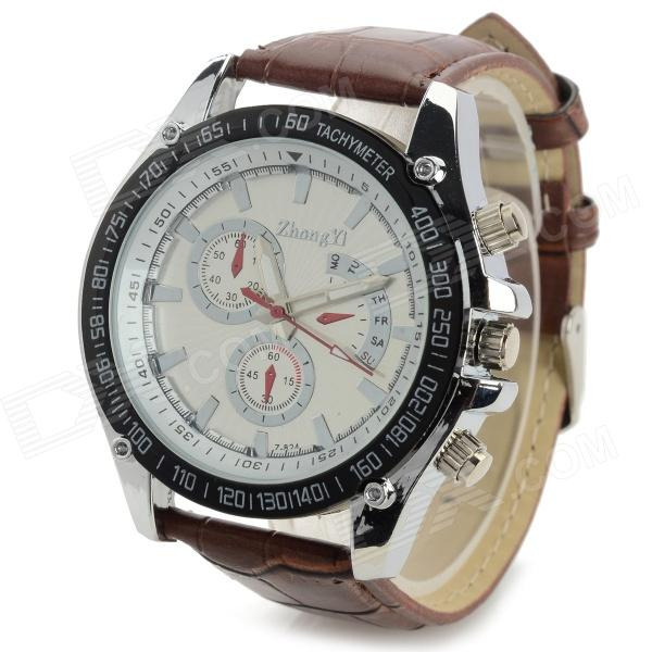 Zhongyi 824 Fashion PU Band Quartz Analog Wrist Watch for Men - Brown + White + Black (1 x 626)