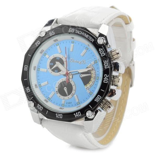 Zhongyi 821 Fashion PU Band Quartz Analog Wrist Watch for Men - White + Black + Blue (1 x 626)