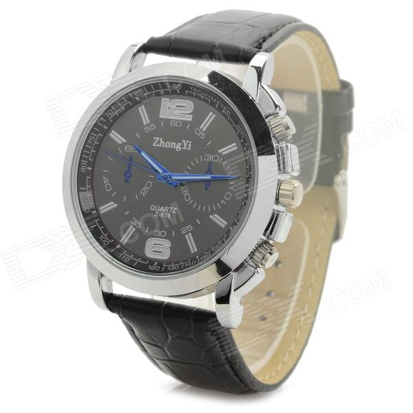 Zhongyi 819 Fashion PU Band Quartz Analog Wrist Watch for Men - Silver + Black (1 x 626)