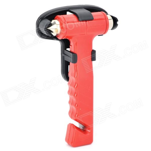 AT8082 Multi-Functional Emergency Life-Saving Hammer / Belt Cutter - Red + Silver
