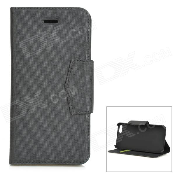 Protective Flip-open PU + ABS Case w/ Holder + Card Slot for IPHONE 5 / 5S - Black protective flip open pc pu leather case w holder card slot for iphone 5 5s black