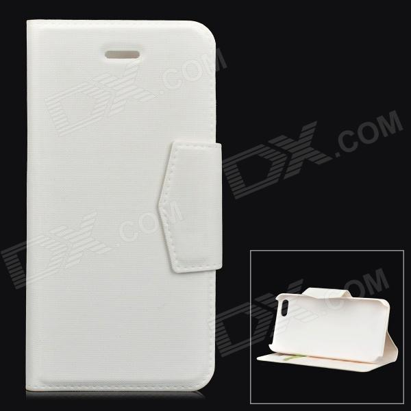 Protective Flip-open PU + ABS Case w/ Holder + Card Slot for IPHONE 5 / 5S - White protective flip open pu pc case w stand card slot for iphone 6 plus 5 5 black