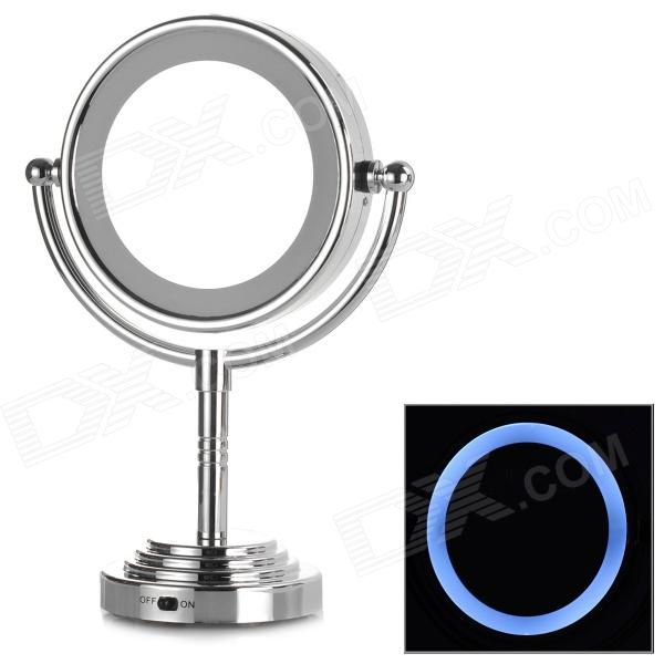 Round Double-Side LED Cosmetic Mirror - Silver