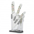 "Bestlead Chinese Rose Pattern Zirconia Ceramics 4"" / 6"" Knife + Chopping Knife + Peeler w/ Holder"