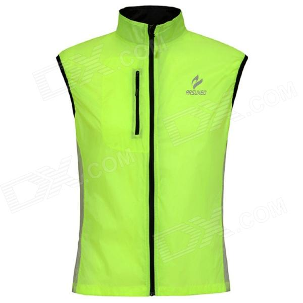 ARSUXEO Men's Comfortable Sports Dacron Vest Waistcoat - Fluorescent Green + Black (M)