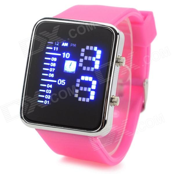 Shifenmei 1149 Fashion Zinc Alloy Case Silicone Band Digital LED Wrist Watch - Deep Pink + Silver