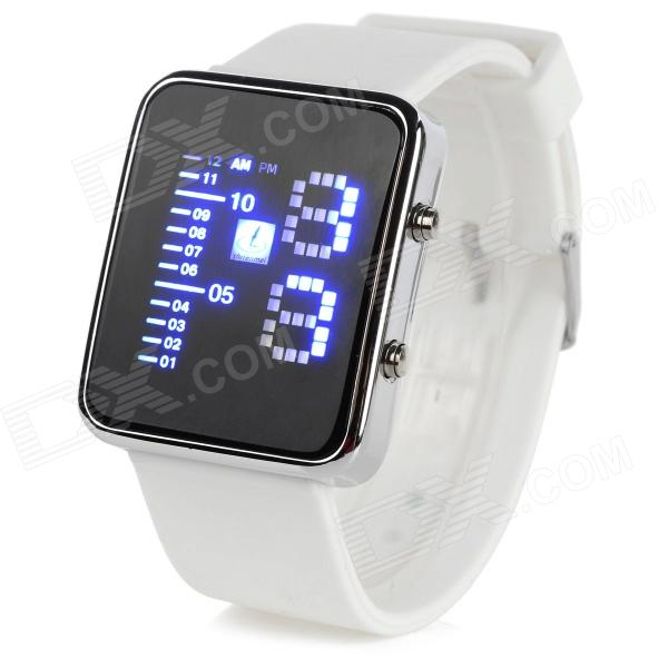 Shifenmei 1149W Fashion Zinc Alloy Case Silicone Band Digital LED Wrist Watch - White + Silver